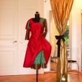 Seidenkleid mit Bolero- Farbenspiel